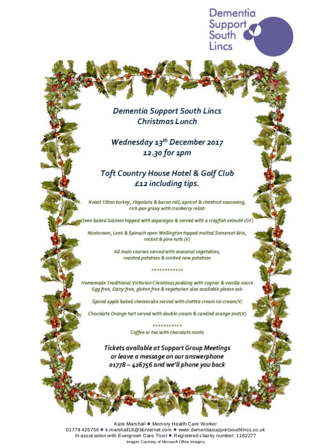 Dementia Support South Lincs Christmas Lunch @ Toft Country House Hotel & Golf Club | Toft | England | United Kingdom