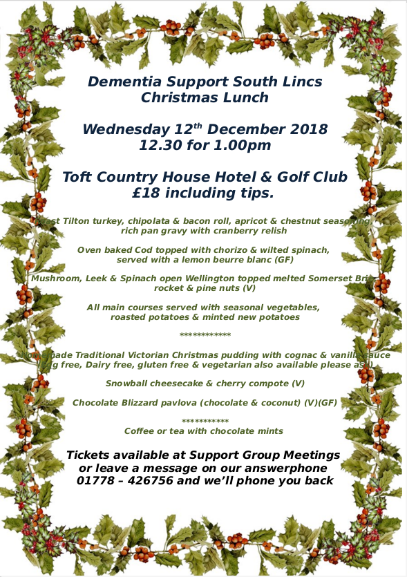 Dementia Support South Lincs Christmas Lunch @ Toft Country House Hotel & Golf Club